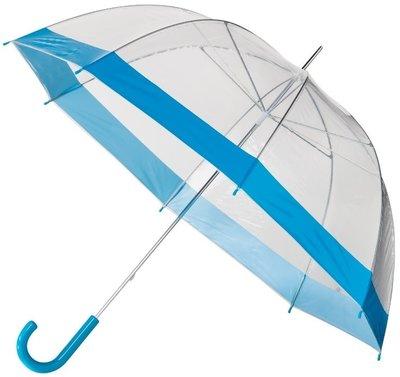 Doorzichtige paraplu met blauwe rand
