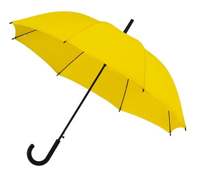 Golfparaplu geel met zwarte haak