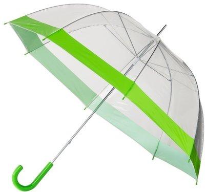 Doorzichtige paraplu met groene rand
