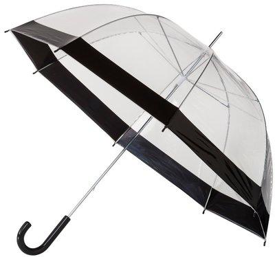 Doorzichtige paraplu met zwarte rand