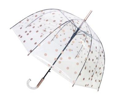 Doorzichtige paraplu stippen goud - Smati