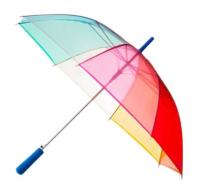 Doorzichtige Regenboogparaplu - Blauw