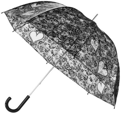 Doorzichtige zwarte kanten paraplu