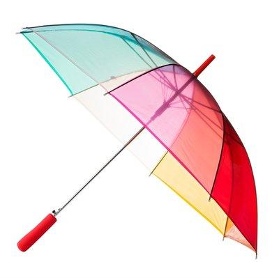 Doorzichtige Regenboogparaplu - Rood