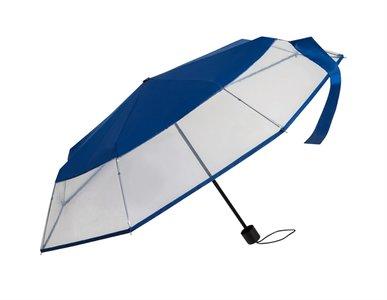 doorzichtige blauwe paraplu