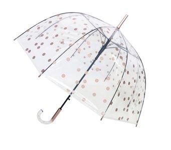 Doorzichtige paraplu stippen goud