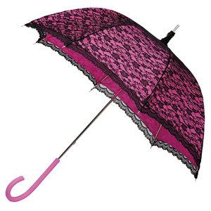 Kanten paraplu roze