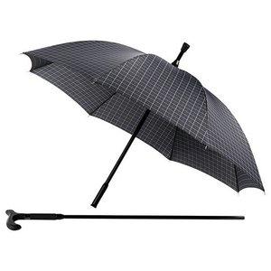 Wandelstok paraplu zwart geblokt